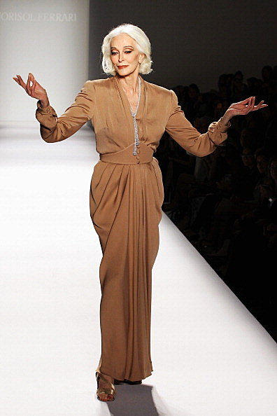 Carmen Dell'Orefice walks the runway