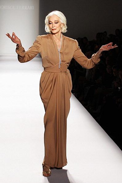 Carmen Dell'Orefice walks the runway