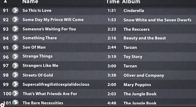 walt disney songs