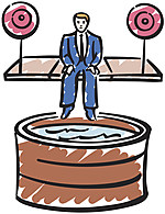 Businessman in dunk tank Color